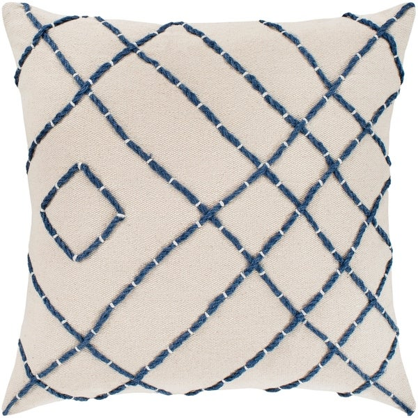 "Kelby Cream & Navy Hand Embroidered Feather Down Throw Pillow (22"" x 22"")"