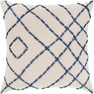 "Kelby Cream & Navy Hand Embroidered Throw Pillow Cover (20"" x 20"")"