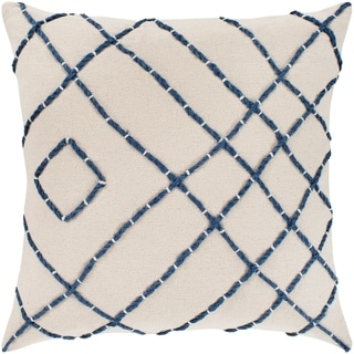 "Kelby Cream & Navy Hand Embroidered Feather Down Throw Pillow (18"" x 18"")"
