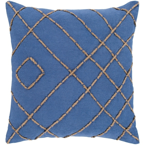 """Kelby Navy & Tan Hand Embroidered Poly Fill Throw Pillow (18"""" x 18"""")"""