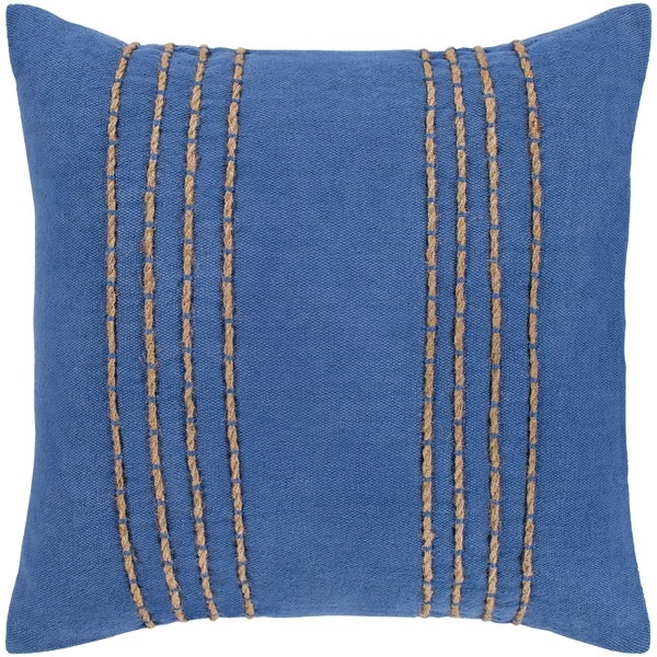 "Malik Navy & Tan Hand Embroidered Poly Fill Throw Pillow (18"" x 18"")"