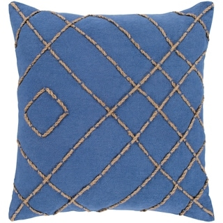 "Kelby Navy & Tan Hand Embroidered Feather Down Throw Pillow (22"" x 22"")"