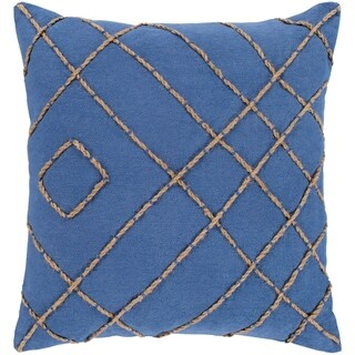 "Kelby Navy & Tan Hand Embroidered Feather Down Throw Pillow (18"" x 18"")"