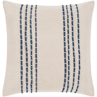 "Malik Cream & Navy Hand Embroidered Poly Fill Throw Pillow (22"" x 22"")"