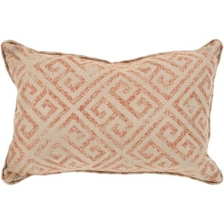 "Tarquin Orange & Khaki Greek Key Indoor/ Outdoor Throw Pillow (13"" x 19"")"