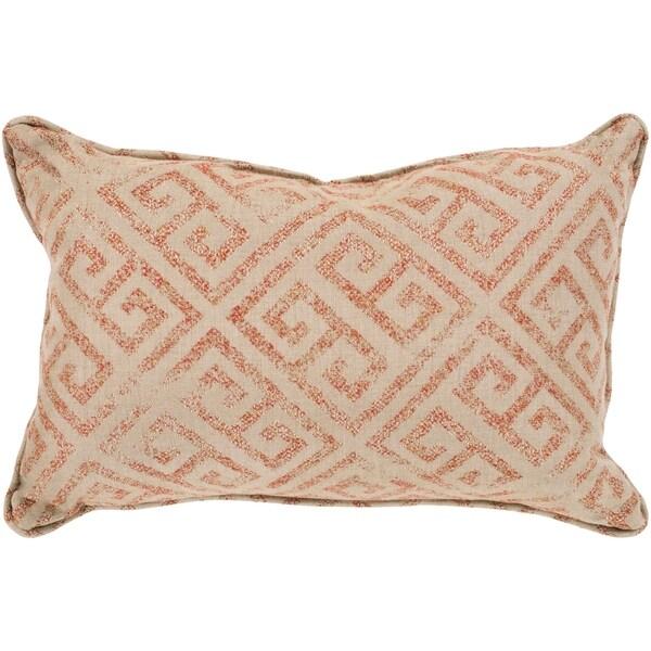Shop Tarquin Orange Khaki Greek Key Indoor Outdoor Throw Pillow