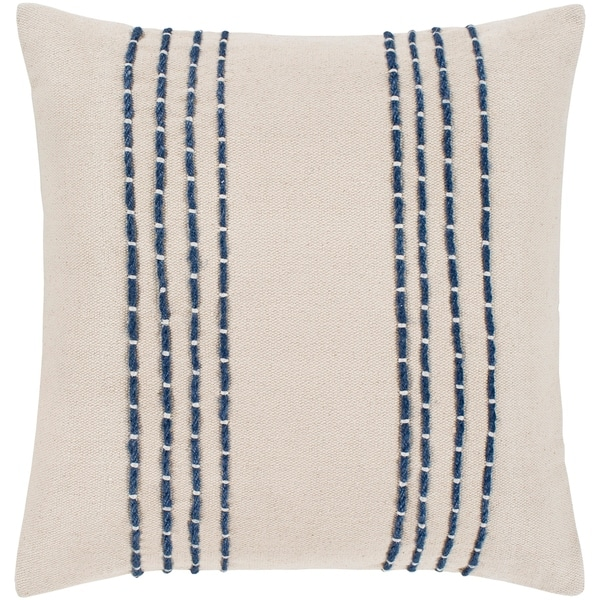 "Malik Cream & Navy Hand Embroidered Feather Down Throw Pillow (20"" x 20"")"