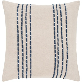 "Malik Cream & Navy Hand Embroidered Feather Down Throw Pillow (18"" x 18"")"