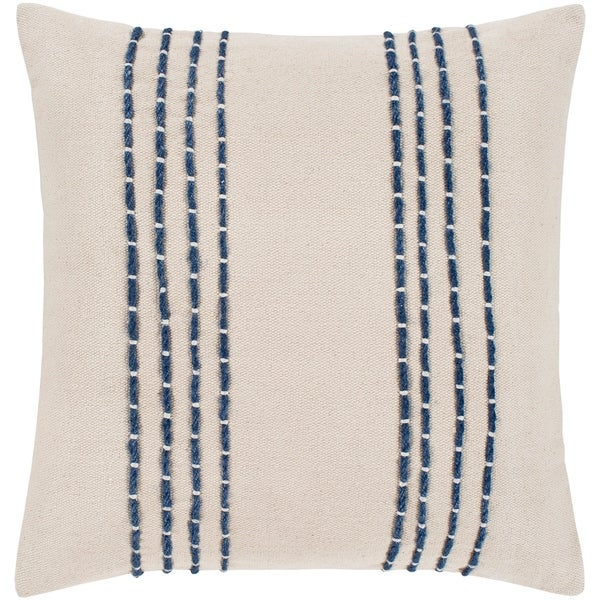 """Malik Cream & Navy Hand Embroidered Feather Down Throw Pillow (18"""" x 18"""")"""