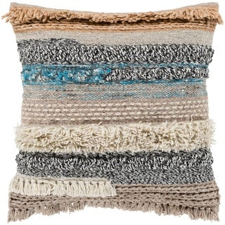 "Siesta Taupe Bohemian Woven Wool Throw Pillow Cover (18"" x 18"")"