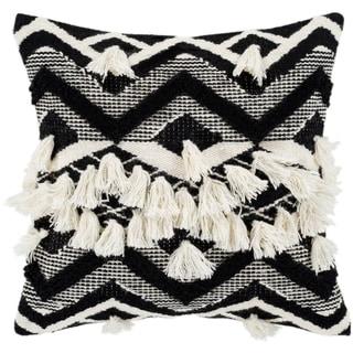 "Spectre Black & Cream Bohemian Tassel Feather Down Throw Pillow (20"" x 20"")"