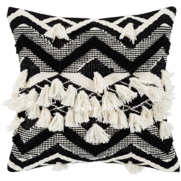 "Spectre Black & Cream Bohemian Tassel Poly Fill Throw Pillow (20"" x 20"")"