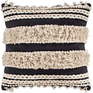 "Rylie Charcoal Bohemian Braided Shag Feather Down Throw Pillow (22"" x 22"")"