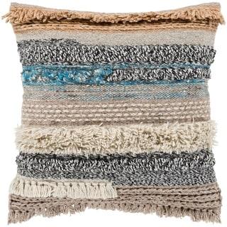 "Siesta Taupe Bohemian Woven Wool Feather Down Throw Pillow (18"" x 18"")"
