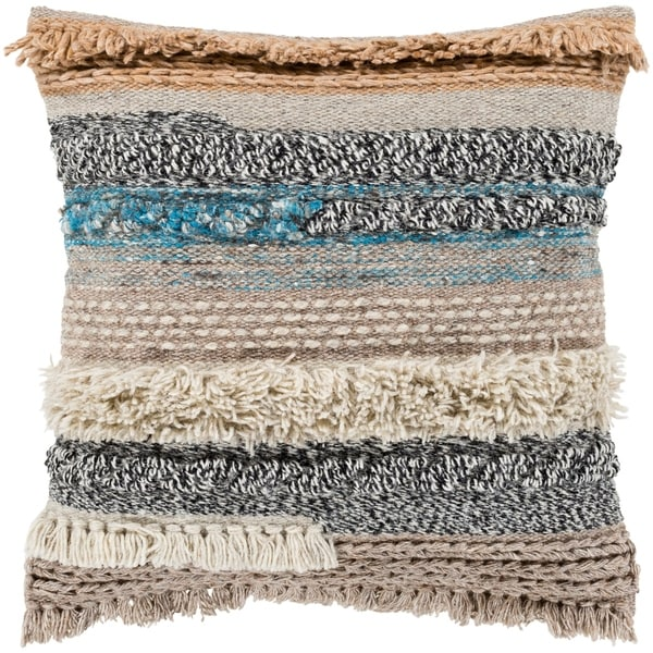 "Siesta Taupe Bohemian Woven Wool Feather Down Throw Pillow (18"" x 18"")"