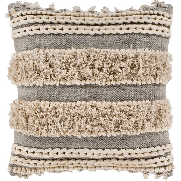 "Rylie Taupe Bohemian Braided Shag Poly Fill Throw Pillow (22"" x 22"")"