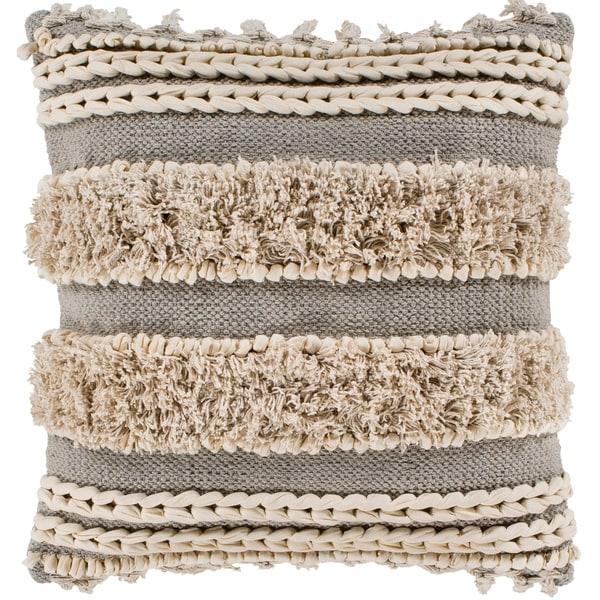 "Rylie Taupe Bohemian Braided Shag Throw Pillow Cover (22"" x 22"")"