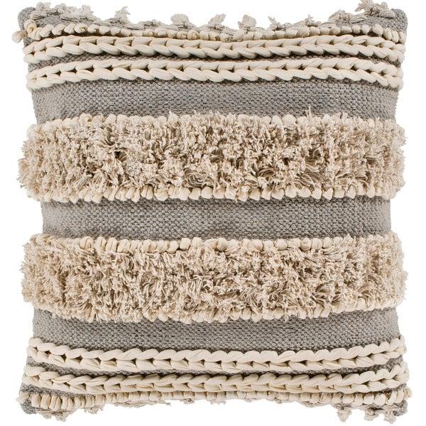 "Rylie Taupe Bohemian Braided Shag Feather Down Throw Pillow (18"" x 18"")"
