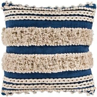 "Rylie Navy Bohemian Braided Shag Feather Down Throw Pillow (22"" x 22"")"