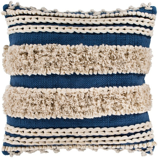 "Rylie Navy Bohemian Braided Shag Feather Down Throw Pillow (22"" x 22"")"