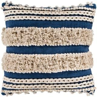 "Rylie Navy Bohemian Braided Shag Poly Fill Throw Pillow (18"" x 18"")"