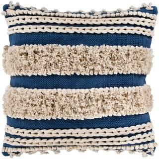 "Rylie Navy Bohemian Braided Shag Poly Fill Throw Pillow (22"" x 22"")"