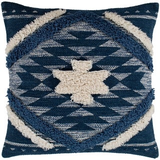 "Katherine Denim & Cream Boho Shag Throw Pillow Cover (22"" x 22"")"