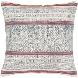 """Margaret Navy & Pink Hand Embroidered Bohemian Poly Fill Throw Pillow (20"""" x 20"""")"""