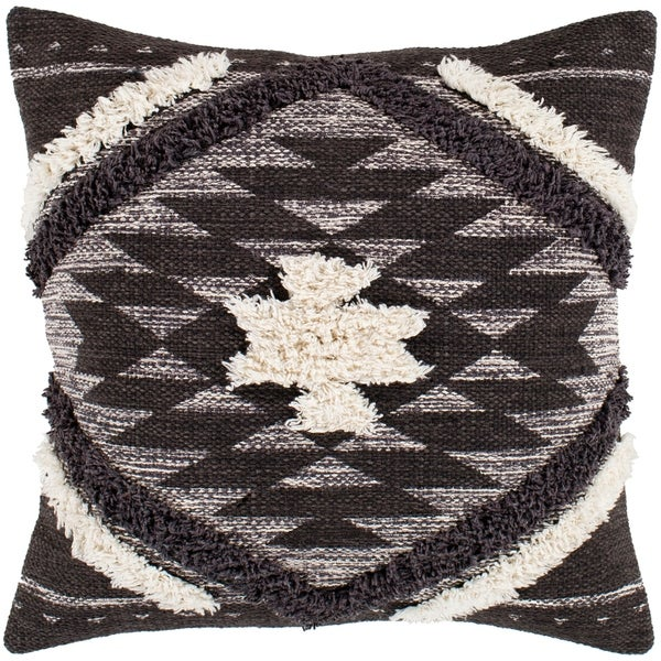 "Katherine Black & Cream Boho Shag Throw Pillow Cover (20"" x 20"")"