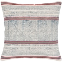 """Margaret Navy & Pink Hand Embroidered Bohemian Throw Pillow Cover (20"""" x 20"""")"""