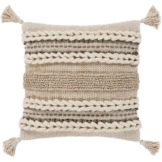"Goa Taupe Bohemian Tassel Wool Poly Fill Throw Pillow (30"" x 30"")"