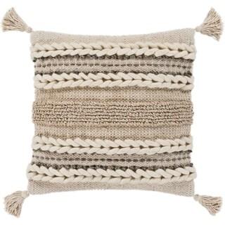 "Goa Taupe Bohemian Tassel Wool Poly Fill Throw Pillow (30"" x 30"")"
