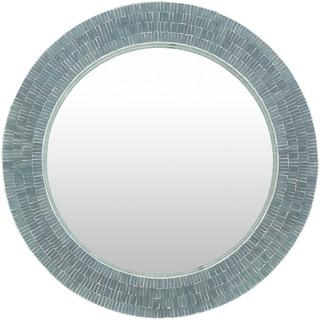 "Basha Sage Mother of Pearl Mosaic Wall Mirror - Grey/Green - 32"" x 32"""