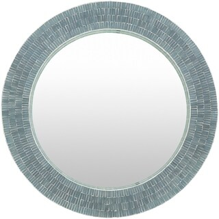 Basha Sage Mother of Pearl Mosaic Wall Mirror - Grey/Green