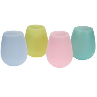 Shatterproof Silicone Stemless Glasses - 4 pack, multicolor
