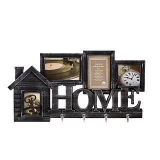 """4 Opening """"HOME"""" Collage Photo Frame with 4 Hooks"""