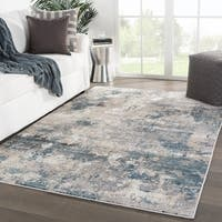"Bertram Abstract Blue/ Cream Area Rug - 9'6"" x 13'"