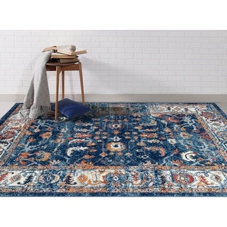 Aurelia Vintage Blue/ Orange Area Rug - 4' x 6'