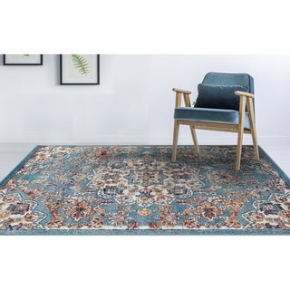 "Aurelia Vintage Medallion Blue/ Orange Area Rug - 8'9"" x 11'9"""