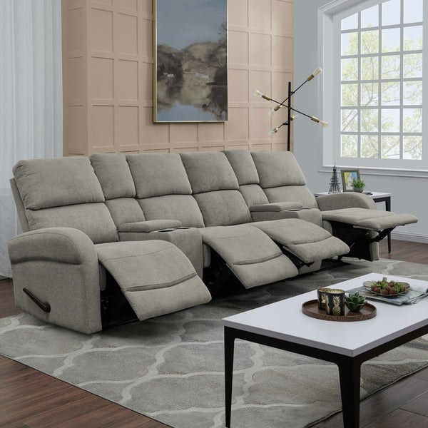 Shop Prolounger Grey Chenille 4 Seat Recliner Sofa With