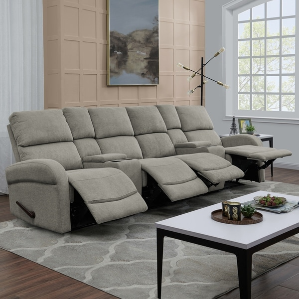 ProLounger Grey Chenille 4 Seat Recliner Sofa With Power Storage Consoles