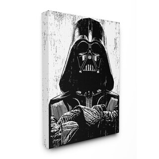 The Stupell Home Décor Collection Black and White Star Wars Darth Vader Canvas Wall Art, 16 x 20, Proudly Made in USA