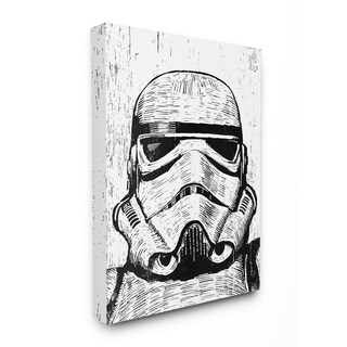 The Stupell Home Décor Collection Black and White Star Wars Stormtrooper Canvas Wall Art, 16 x 20, Proudly Made in USA