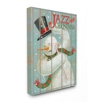 The Stupell Home Décor Collection Holiday Music Jazz Up Your Christmas Snowman Canvas Wall Art, 16 x 20, Proudly Made in USA