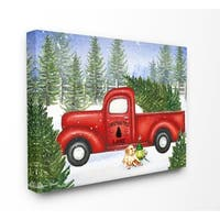 The Stupell Home Décor Collection Christmas Tree Lane Red Pickup Truck Canvas Wall Art, 16 x 20, Proudly Made in USA