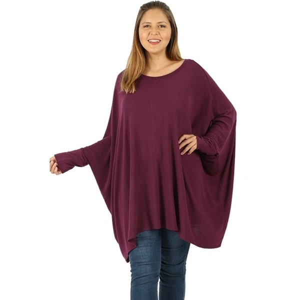 734351c1f95 Shop JED Women's Batwing Sleeve Poncho Tunic Top sizes S-3XL - On ...