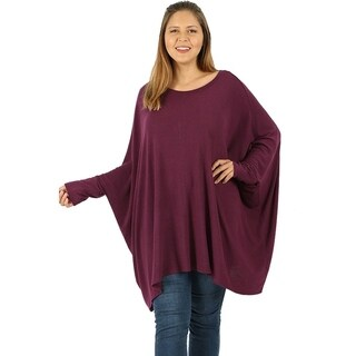 JED Women's Batwing Sleeve Poncho Tunic Top sizes S-3XL