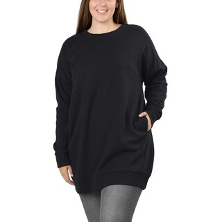 JED Women's Plus Size Crewneck Extra Long Pull-Over Tunic Sweatshirt