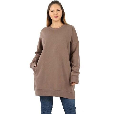 JED Women's Plus Size Crewneck Extra Long Pull-Over Tunic Sweatshirt