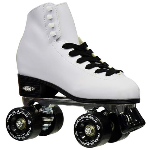 Epic Classic White w/ Black Wheels High-Top Quad Roller Skates w/ 2 Pair of Laces